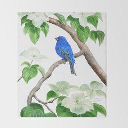 Royal Blue-Indigo Bunting in the Dogwoods by Teresa Thompson Throw Blanket