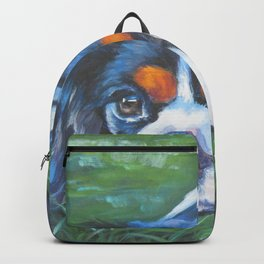 Beautiful Tricolour Cavalier King Charles Spaniel Dog Painting by L.A.Shepard Backpack