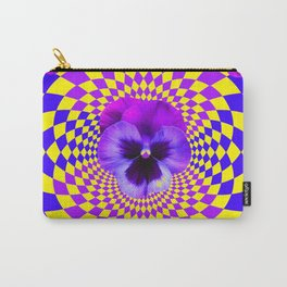 OPTICAL LILAC PURPLE PANSIES YELLOW  GEOMETRIC ART Carry-All Pouch