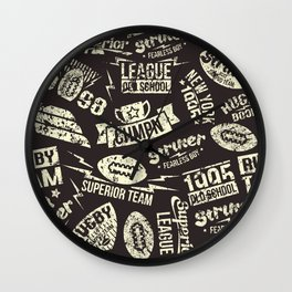Sport rugby emblems pattern Wall Clock