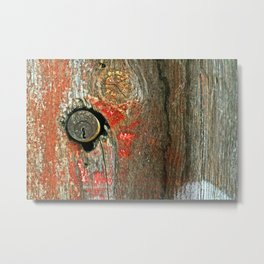 Weathered Wood Texture with Keyhole Metal Print