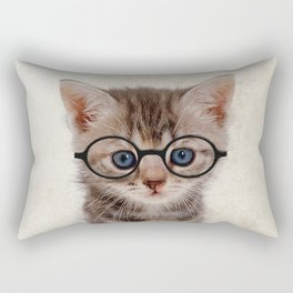 Kitten with Glasses Rectangular Pillow