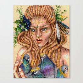 Hippie Gypsy Bird Lady Queen Canvas Print