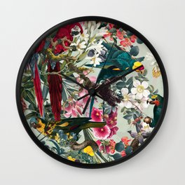 FLORAL AND BIRDS XXII Wall Clock