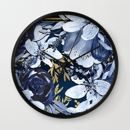 Navy Blue & Gold Watercolor Floral Wall Clock
