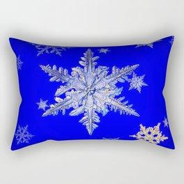 """""""MORE SNOW"""" BLUE WINTER ART DESIGN Rectangular Pillow"""