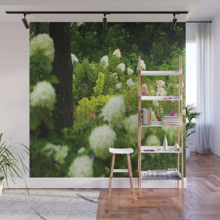 Limelight Hydrangeas in My Rubio Garden Wall Mural