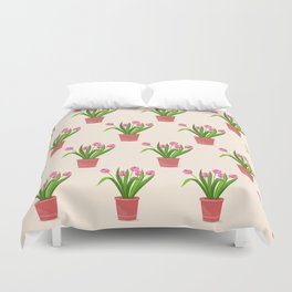 pink tulips in the pot Duvet Cover
