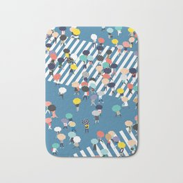 Crossing The Street On a Rainy Day - Blue Bath Mat