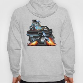 Classic Sixties American Muscle Car Popping a Wheelie Cartoon Illustration Hoody
