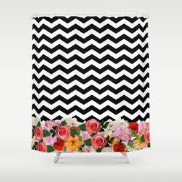 chevron floral ♡ Shower Curtain