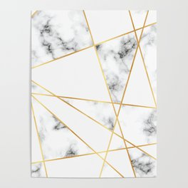 Stone Effects White and Gray Marble with Gold Accents Poster