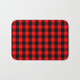 Classic Red and Black Buffalo Check Plaid Tartan Bath Mat