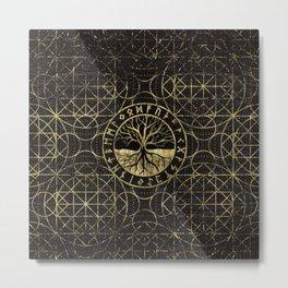 Tree of life  -Yggdrasil and  Runes Metal Print
