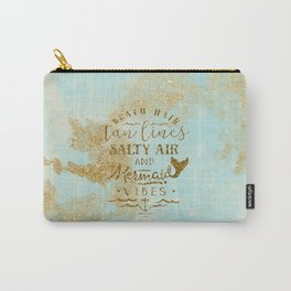 Beach - Mermaid - Mermaid Vibes - Gold glitter lettering on teal glittering background Carry-All Pouch