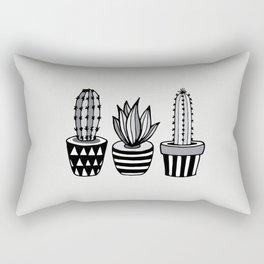 Cactus Plant monochrome cacti nature greyscale illustration floral succulent leaf home wall decor Rectangular Pillow