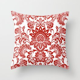 Damask in red Throw Pillow