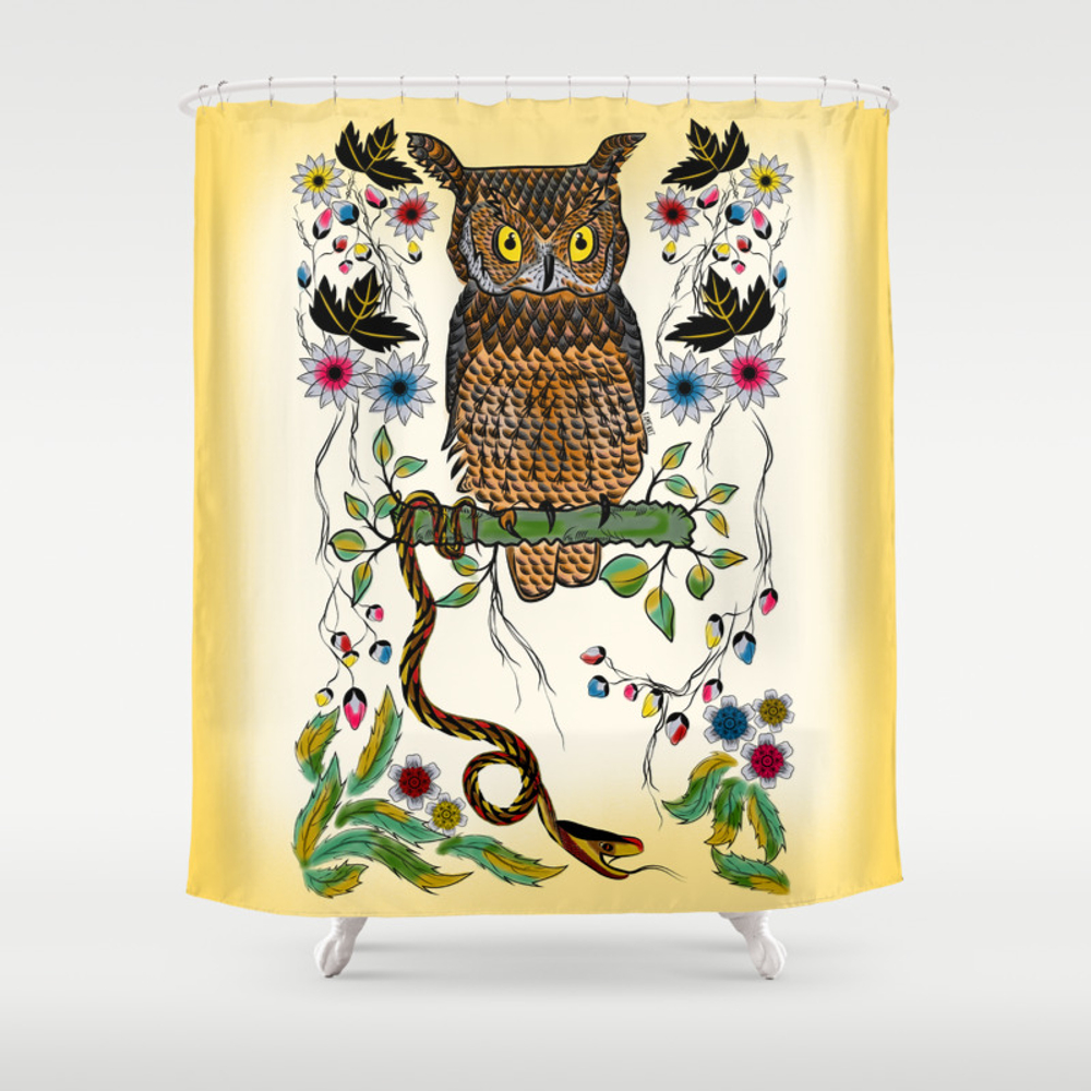 Vibrant Jungle Owl And Snake Shower Curtain by Famenxt CTN2500858