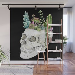 """Garden of Thought"" - Skull and Flowers Wall Mural"