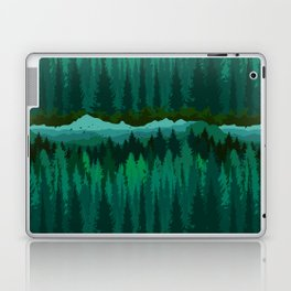 PNW Mountain Landscape in Emerald Green Laptop & iPad Skin