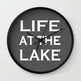Life At The Lake - Grey and White Wall Clock