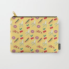 Modern yellow red fruit pizza sweet donuts food pattern Carry-All Pouch