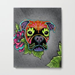 Boxer in Fawn - Day of the Dead Sugar Skull Dog Metal Print