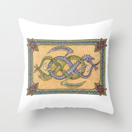 Celtic Infinity Dragons Throw Pillow