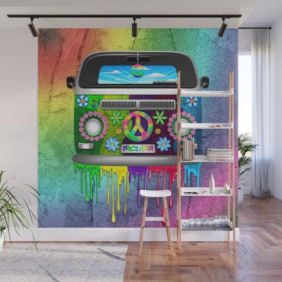 Hippie Bus Van Dripping Rainbow Paint Wall Mural By Bluedarkatlem | Society6