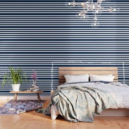 Slate Blue and White Stripes  - Navy Nautical Pattern Wallpaper