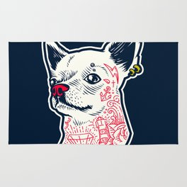 Funny Hipster Style Good Boy Dog Lover Tattoo Covered Chihuahua Rug