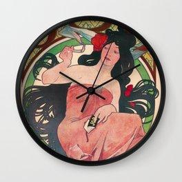 Art Nouveau Alphonse Mucha Job Detail Wall Clock