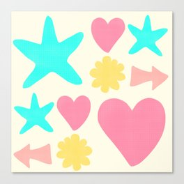 Pastel Shapes Pattern on Pale Yellow Canvas Print