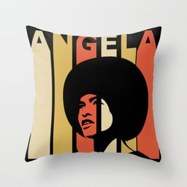 Angela Davis Retro Homage Throw Pillow