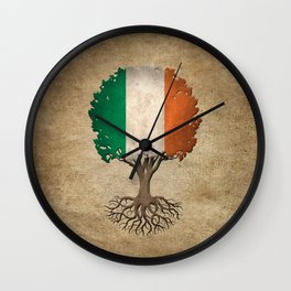 Vintage Tree of Life with Flag of Ireland Wall Clock