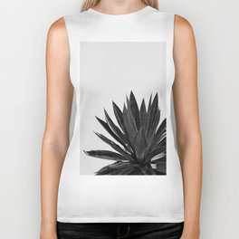 Agave Cactus Black & White Biker Tank