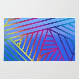 Rainbow Ombre Pattern with Blue Background Rug
