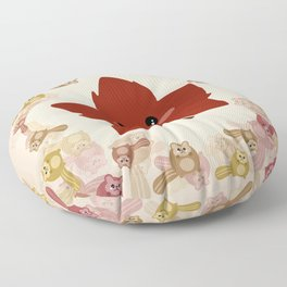 Happy Autumn leaf and the crazy chipmunk hurricane. Floor Pillow
