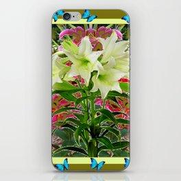 BUTTERFLIES PURPLE & WHITE LILIES AVOCADO FLORAL iPhone Skin