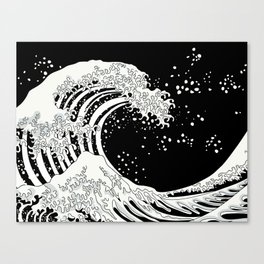 Black and White Great Wave Canvas Print