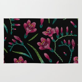 Embroidered Flowers on Black Pattern 07 Rug