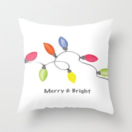 Merry & Bright w/C9 String of Christmas lights on white Throw Pillow