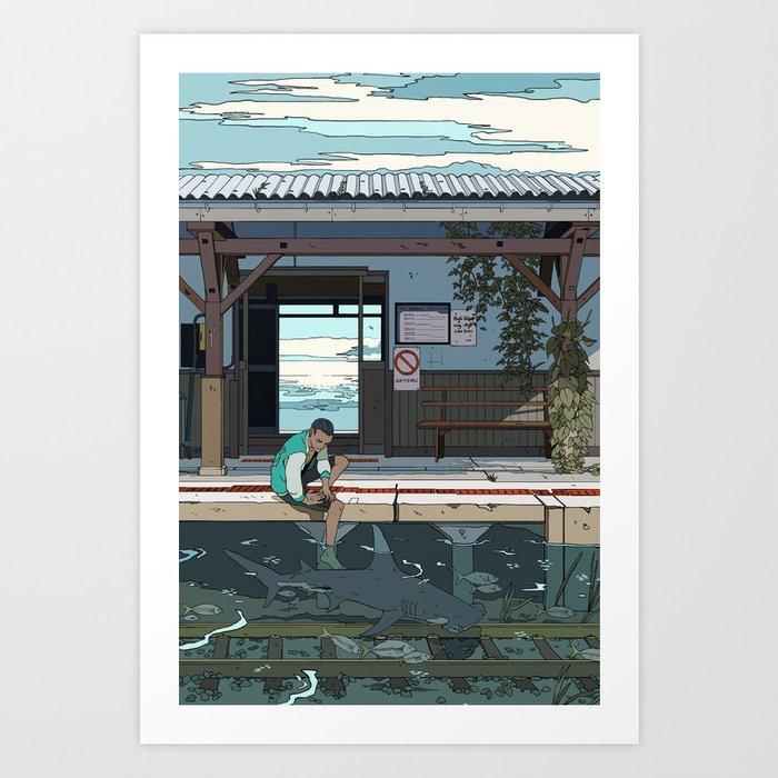 High Tide Tracks Art Print