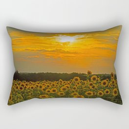 Field of Sunflowers at Sunset Rectangular Pillow
