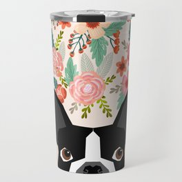 Boston Terrier floral dog head cute pet portrait gifts for boston terriers must haves Travel Mug