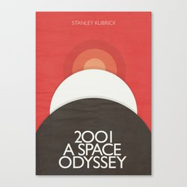 2001 A Space Odyssey - Stanley Kubrick minimalist movie poster, Red Version, fantasy film Canvas Print