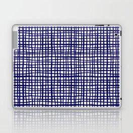 Grid indigo blue bold dramatic modern minimal abstract painting lines gridded pattern print minimal Laptop & iPad Skin