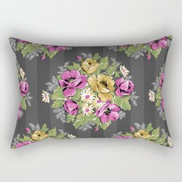 Floral Bouquet on Striped Background Rectangular Pillow
