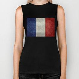 Flag of France, vintage retro style Biker Tank