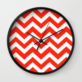 Red (RYB) - red color - Zigzag Chevron Pattern Wall Clock